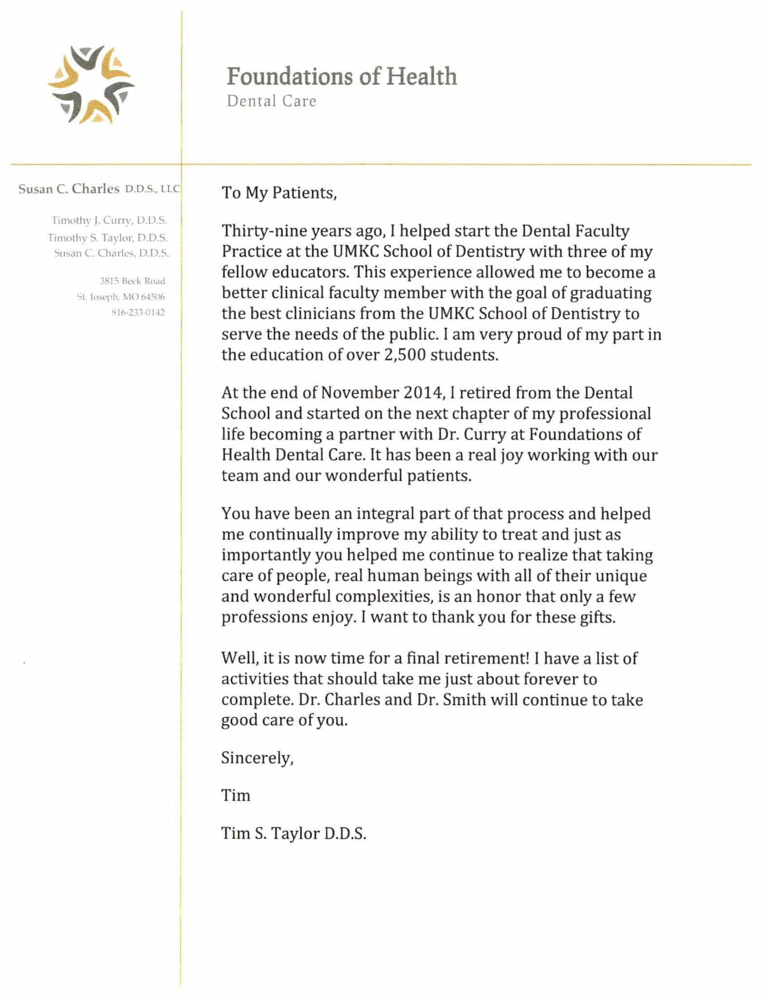 Dr. Taylor's retirement letter